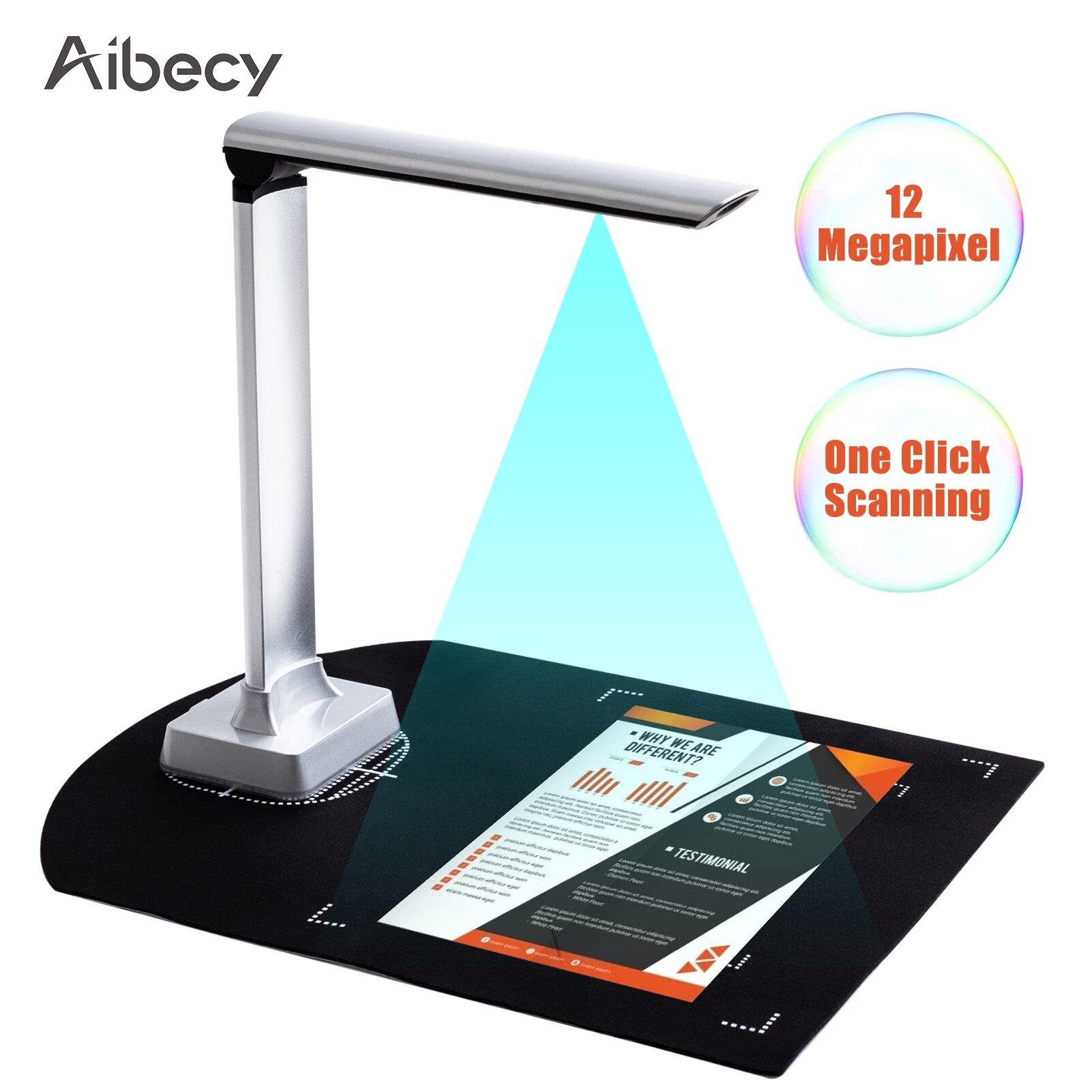 Aibecy Portable Document Camera HD 12 Mega-pixels Capture Size A4 Scanner USB 2.0 Port LED Light OCR Function Barcode Scanning