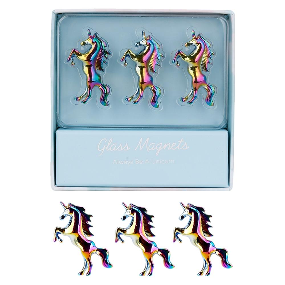 Rainbow Fridge Magnets 3 Pack Unicorn Steel Refrigerator Magnet Sticker Home School Office Whiteboard Decor Dry Erase Board