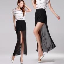 2017 Summer Style Women Plus Size 3XS-8XL Elegant Split Chiffon Skirt Ladies Casual Sexy High Slit Maxi Long Skirts Saias