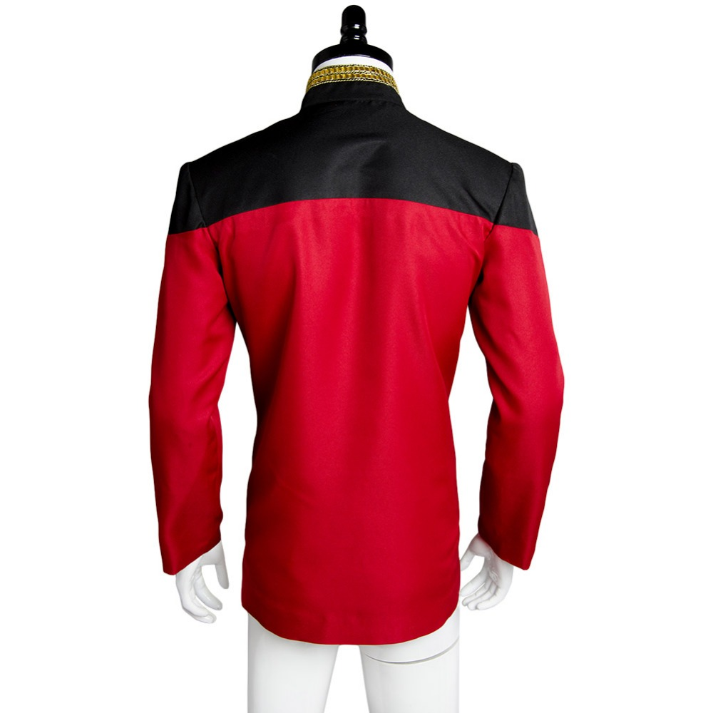 Cosplay Admiral JL Picard Red Uniform Startfleet Blue Gold Top Shirts Costumes
