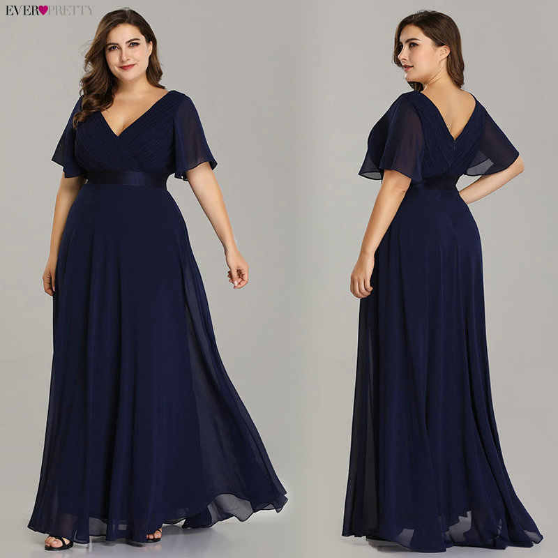 Plus Size Avondjurken Ever Pretty EP09890 Elegante V-hals Ruches Chiffon Formele Avondjurk Party Dress Robe De Soiree 2020