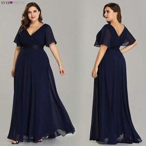 Plus Size Evening Dresses Ever Pretty EP09890 Elegant V-Neck Ruffles Chiffon Formal Evening Gown Party Dress Robe De Soiree 2020(China)