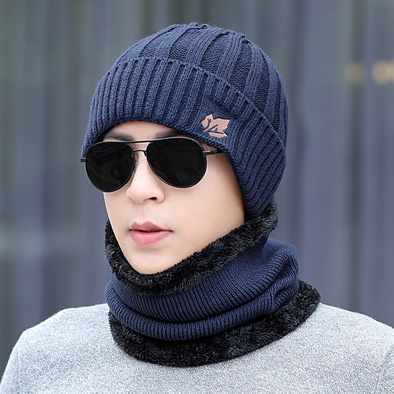 Men's Winter Hat And Ring Scarf Set Two-Piece Thicken Winter Warm Set Female Hats Scarves Men Unisex Skullies Beanie
