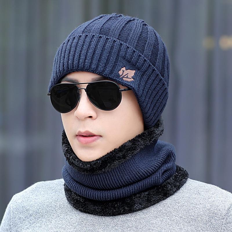 Men's Winter Hat And Ring Scarf Set Two-Piece Thicken Winter Warm Set Female Hats Scarves Men Unisex Skullies Beanie