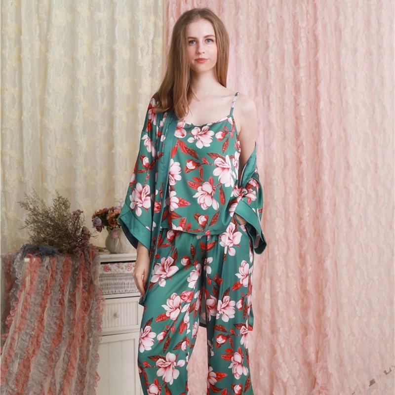 Satin   Pajamas   3pcs suit Women Autumn   Pajamas   Robe   Set   Long Pants Nightwear Printing Sleepwear Ladies Fashion Home Wear