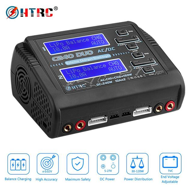 HTRC Lipo Charger C240 Duo AC/DC 150W/240W Dual Channel 10A DischargerสำหรับLiHV LiFe lilon NiCd NiMh Pb Battery Balance Charger