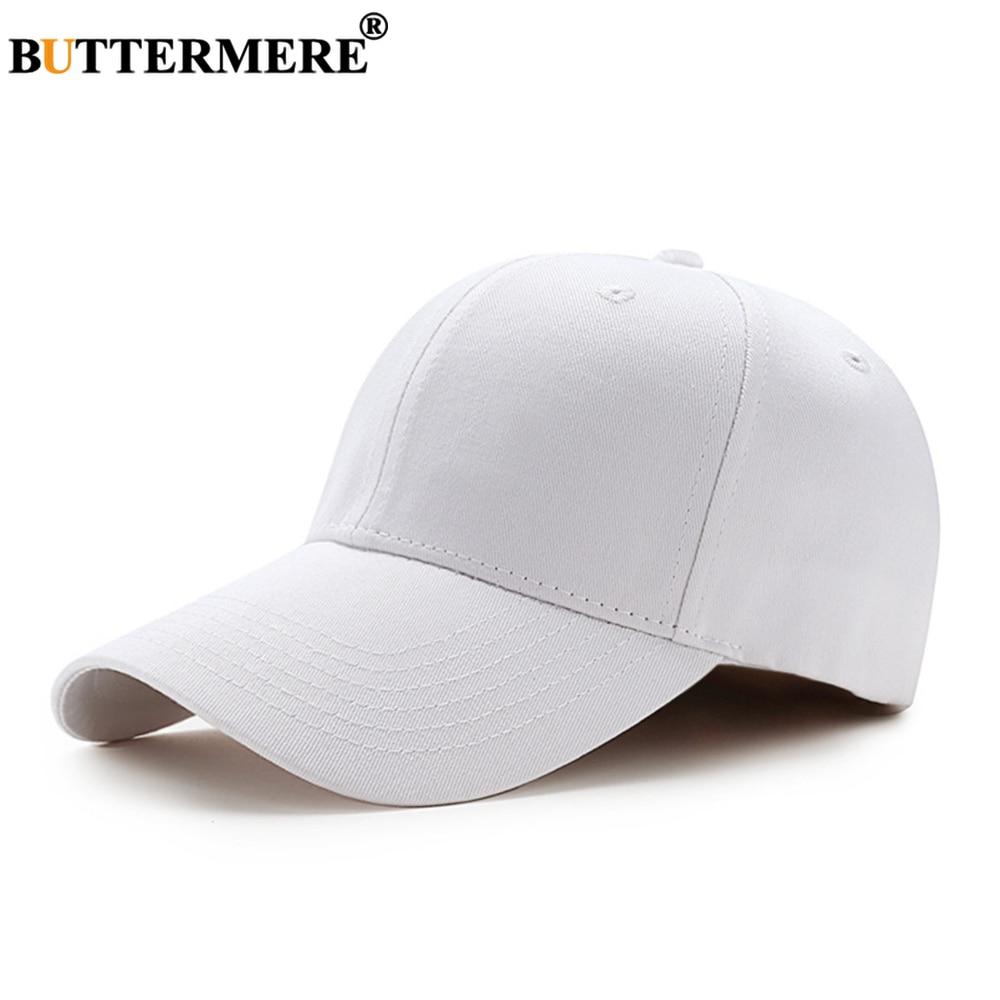 BUTTERMERE White Baseball Cap Women Men Solid Cotton Snapback Navy Black Gray Pink Burgundy Male Female Bone Dad Hat