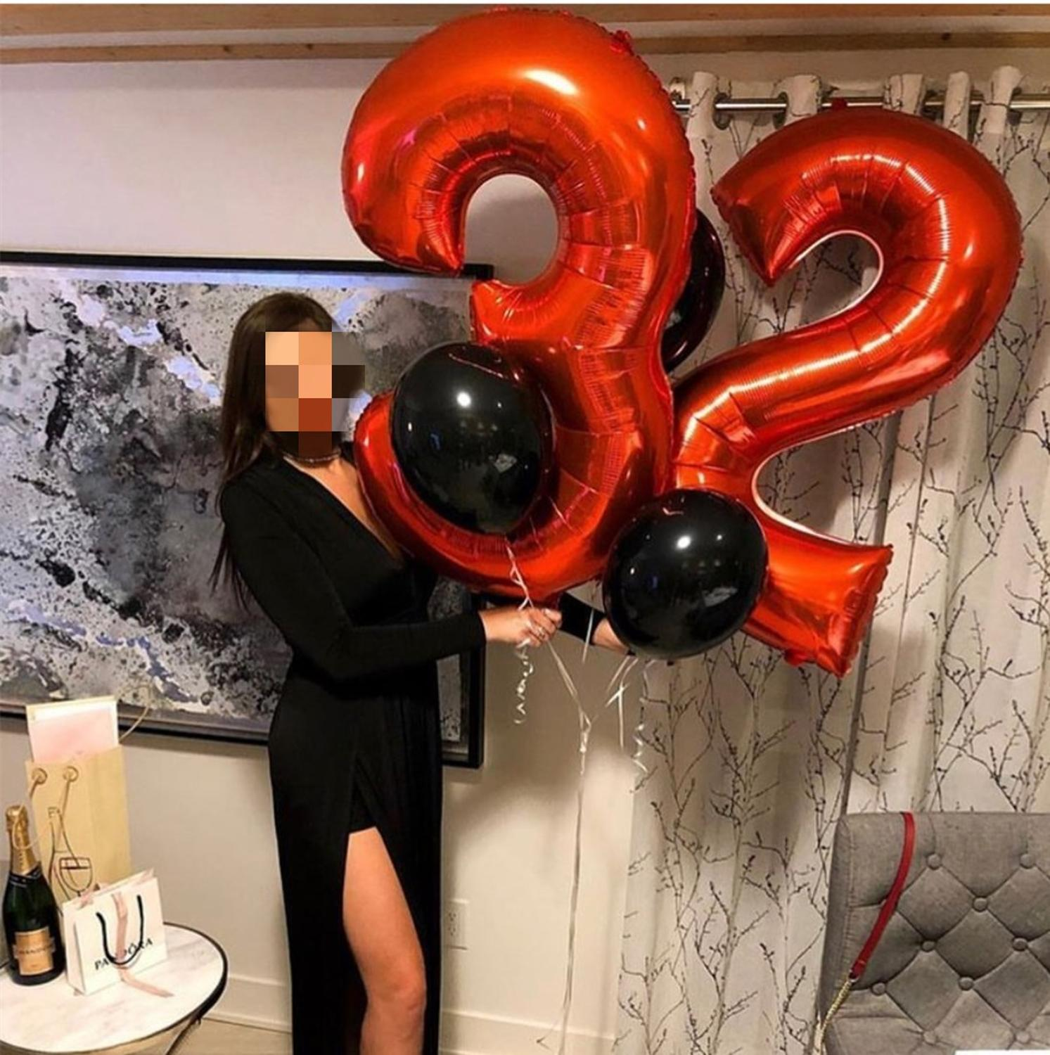 32 40 Inch Red Number Foil Balloons 0 1 2 3 4 5 6 7 8 9 18 Helium Red Balloon Happy Birthday Party Wedding Decoration Supplies image