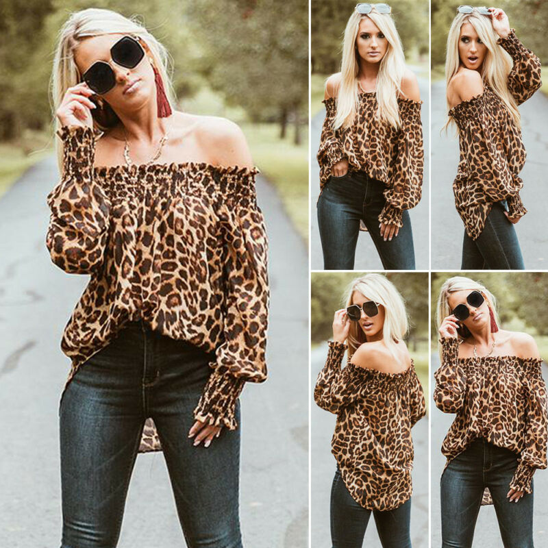 Women's Autumn Sexy Off Shoulder Leopard Print Slash Neck Shirts Long Puff Sleeve Casaul Party Club Loose Blouse Fashion