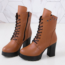 High Heels Boots Women Ladies Buckle Strap Rivet Gothic Shoes Black Boots Mid-Calf Motorcycle Boots Leather Women Shoes eyelet buckle strap mid calf boots