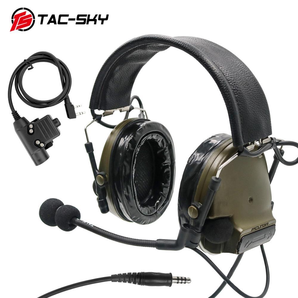 TAC-SKY COMTAC III Silicone Earmuffs Noise Reduction Pickup Tactical Headset FG + Military Walkie-talkie Adapter KENWOOD U94 PTT