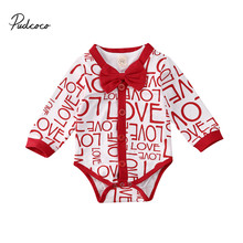 Pudcoco Bodysuit Newborn Baby Boys Valentine's Day Clothes Gentleman Suit Love Words Print Jumpsuit Spring Outfits baby touch words