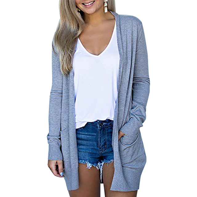 Solid Women Cardigans Long Sleeve Loose Mid Length Knittwear Casual Sweater Cardigan Female Thin Knitted Coat Cardigan Women 4