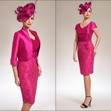 Dresses Sheath Groom Lace Wedding Mother-Of-The-Bride Plus-Size Short Knee-Length