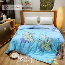 Liv-Esthete Blue Flower Luxury Natural Mulberry Silk Duvet Comforter Filled 100% Four Seasons Quilt Double Queen King