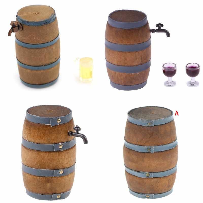 มินิไม้สีแดงไวน์บาร์เรล Miniature เบียร์บาร์เรลเบียร์ถังเบียร์ Keg สำหรับตุ๊กตา House ตกแต่ง 1:12 Scale Dollhouse อุปกรณ์เสริม