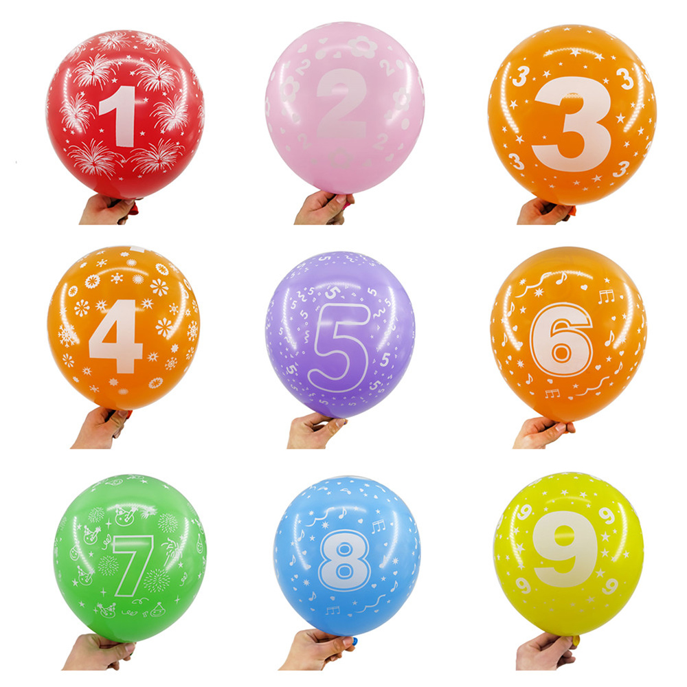 Zljq 10 20 30 Pcs Number 0 1 2 3 4 5 6 7 8 9 Latex Balloons For