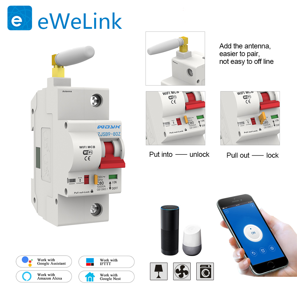 1P 20A WiFi Smart Circuit Breaker  overload and short circuit protection compatible with Amazon Alexa Google for home