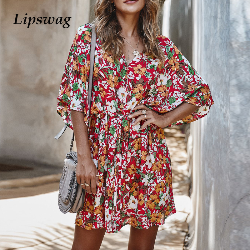 Women Floral Print Short Sleeve Beach Boho Dress Elegant V-Neck Ruffles Mini Party Dress Summer Fashion Cotton Dresses Vestidos