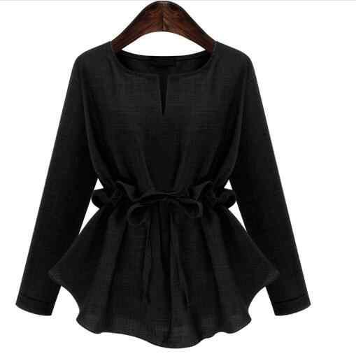 5XL 4XL 3XL בתוספת גודל חולצות נשים אופנה מקרית V-צוואר ראפלס Sashes ארוך שרוול מוצק כותנה ופשתן גדול טי חולצה AF973