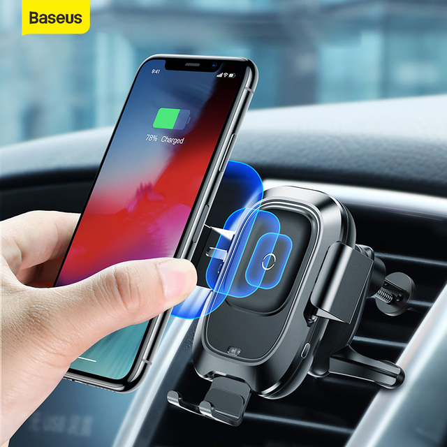 Baseus Car Phone Holder Sensor For iPhone For Samsung Automatic Sucker Car Wireless Charger Air Vent Mount Phone Holder Stand