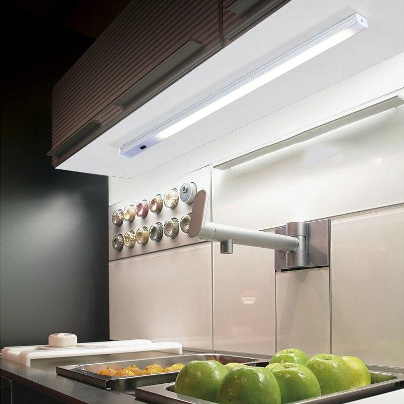Luz LED para debajo de gabinete Sensor de barrido manual luz nocturna 12v Barra de luz LED para dormitorio, cocina, armario, armario, escaleras, pared de pasillo 5 uds 4mm/0,16