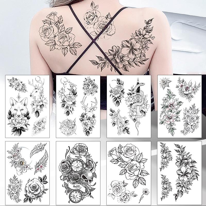 Водостойкие временные Черные эскизы 49 дизайнов, наклейки с цветами для татуировок, флэш-Временные татуировки для тела для женщин