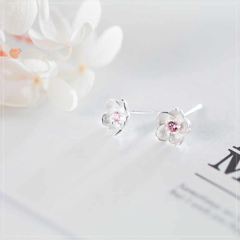 Trusta 2019 מינימליסטי אמיתי 925 סטרלינג כסף מתוק ורוד עלה כותרת פרח Stud עגילים לנשים תכשיטי חתונה מתנה DS1916