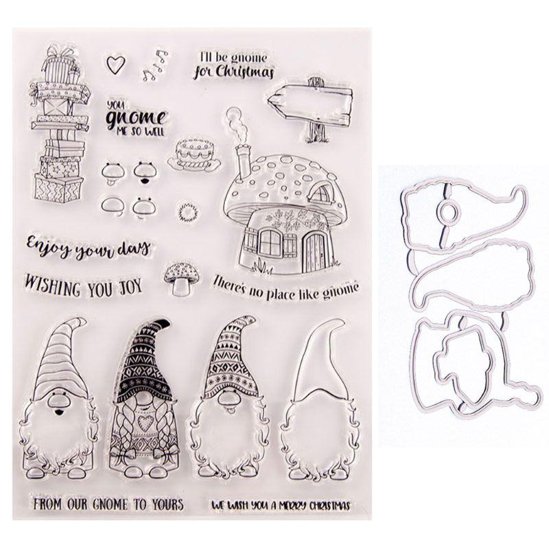 Санта гном печать штамп с вырубкой штамп трафарет набор DIY Скрапбукинг тиснение