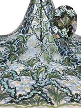 high quality African lace fabric with sequins tulle new design Nigeria rof1-1226