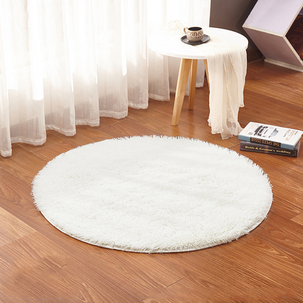 100cm Round Home Textile Shaggy Carpet Anti-Skid Rug Shower Bedroom Mat Door Floor Options Washable Area