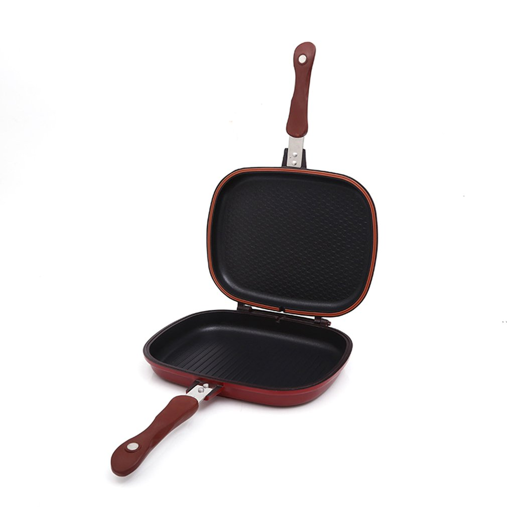 28Cm Double-Sided H Baking Plate Double-Sided Frying Pan Non-Stick Pan Kitchen Double-Sided Non-Stick Pan