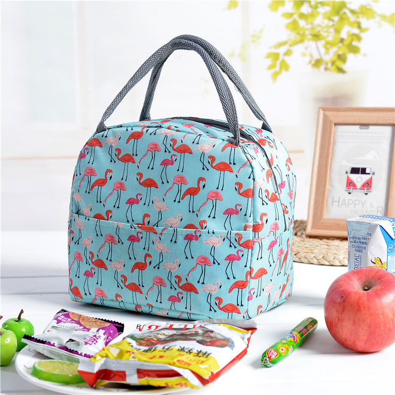 Kawaii Flamingo Portable Zipper Waterproof Lunch Bags Women Student Lunch Box Thermo Bags Office School Picnic Cooler Bag Bolsos