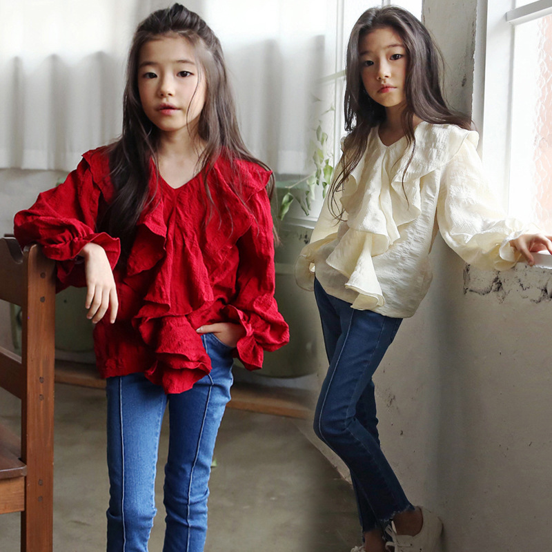 Girls Shirts Kids Winter Clothes 2020 Spring New Long-sleeved Red Blouses Cotton Shirts Girls V-neck Tees Children Clothing Tops
