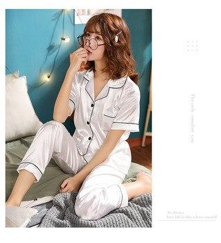 Women Pajamas Set Sleepwear Winter Long Sleeve Mujer Pijamas Nuisette Sexy Lingerie Nightwear Silk Satin Pyjamas pjs Suit 2Pcs 29