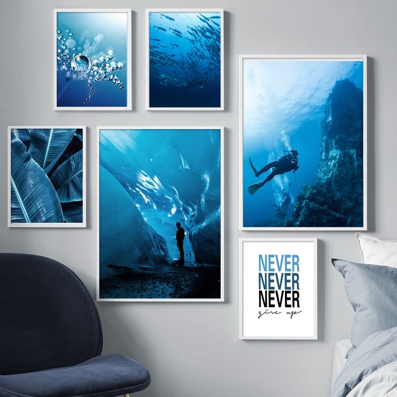 Blue Ocean Diving Banana Leaf Dandelion Wall Art Canvas Painting Nordic Posters And Prints Wall Pictures For Living Room Decor Рисование и каллиграфия      АлиЭкспресс