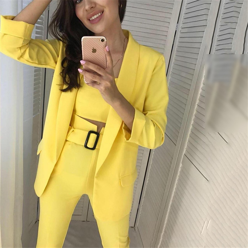 Image 3 - TAOVK Women Suits Female Pant Suits Office Lady Formal Business Set Uniform Work Wear Blazers Camis Tops and Pant 3 Pieces Set-in Women's Sets from Women's Clothing