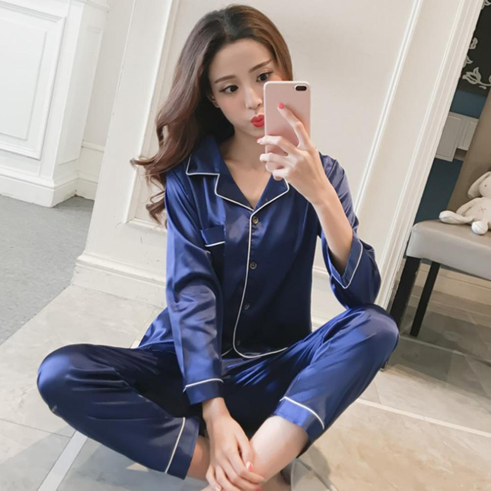 Set Pajamas Women Nightwear Pajama Set Fashion Women Solid Color Lapel Long Sleeve Blouse Pants Set Sleepwear Long Sleeve Pajama
