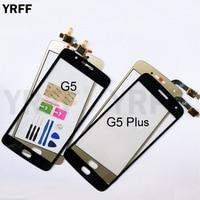Para Moto G5 pantalla táctil de cristal para Motorola Moto G5 Plus pantalla táctil digitalizador Panel de lente de cristal frontal
