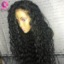 Cabelo humano encaracolado, eva cabelo humano para mulheres 13x6 frontal cabelo humano pré selecionado 370 peruca brasileira falsa de couro cabeludo