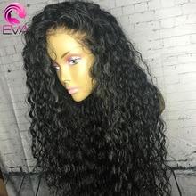 여자에 대 한 Eva 곱슬 인간의 머리가 발 13x6 레이스 프런트 인간의 머리가 발 Pre 뽑은 370 레이스 정면 가발 브라질 가짜 두피 가발