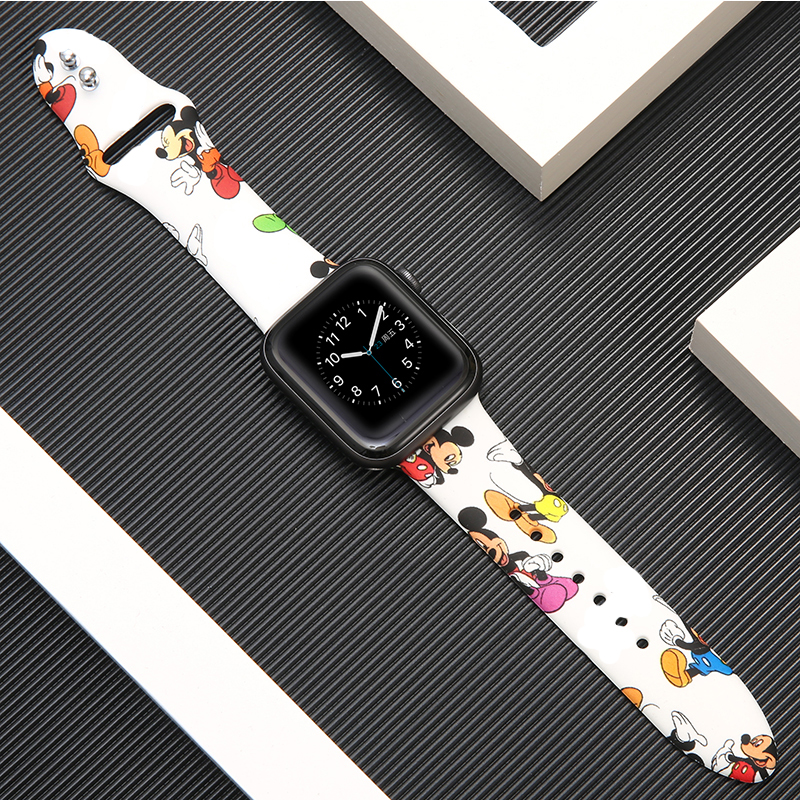 Strap For Apple Watch Band 42mm 38mm Iwatch Correa 44mm 40mm 5 4 3 2 Pattern Sport Silicone Bracelet Apple Watch 5 4 Accessories
