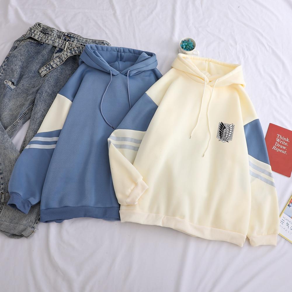 Attack on Titan Shield Printed Hoodies Autumn Winter Fleece Casual Spell Color Splicing Sweatshirt Loose Harajuku Kawaii Clothes 1
