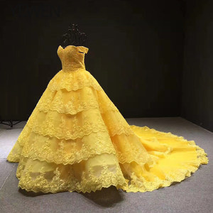 Image 2 - V neck Yellow Long Evening Dress 2020 Applique Lace High Quality Puffy Prom Gowns Vestido De Festa Off The Shoulder Evening Gown