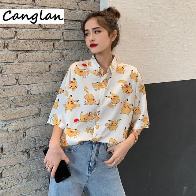 Harajuku Blouse for Women Ladies Japanese Anime Summer Button Up Shirt Short Sleeve Tops Korean Kawaii Clothes