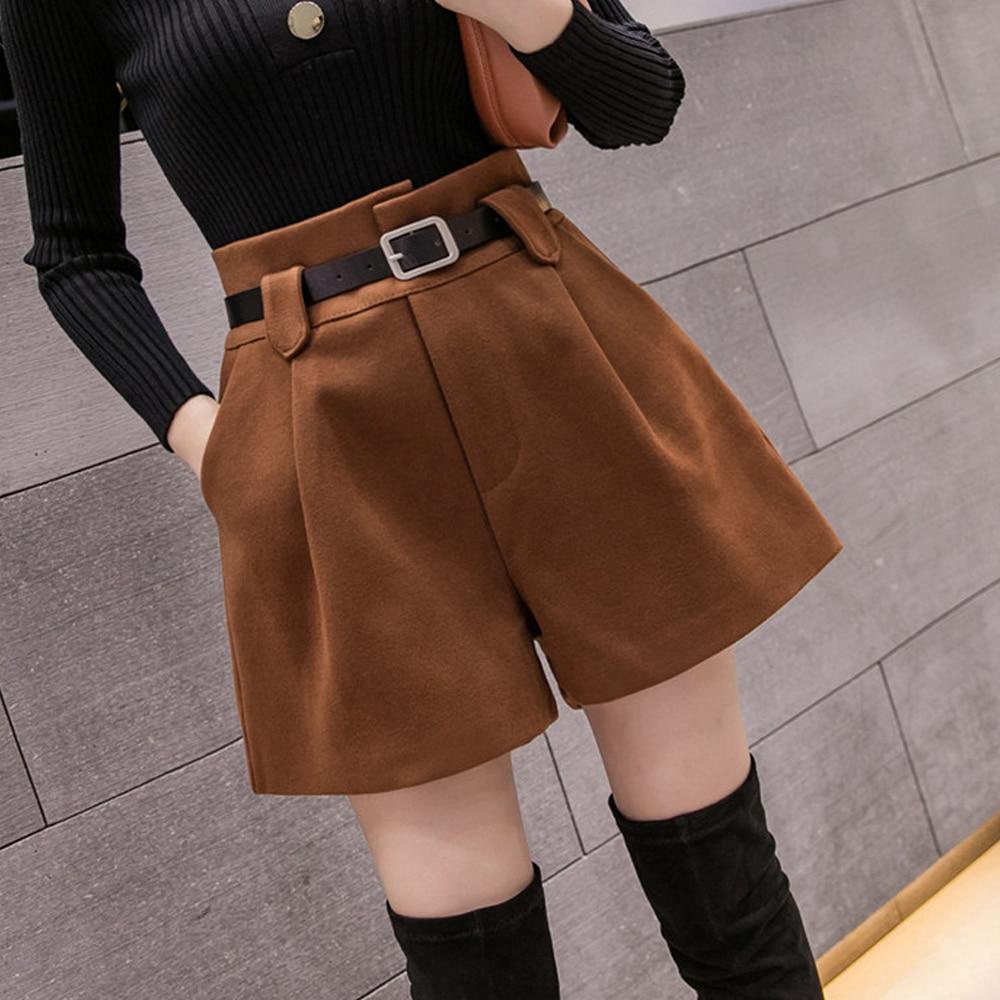 Autumn Winter Woolen Shorts Women High Waist Female Loose Thick Warm  Boots Shorts Wide Leg A-line Shorts Free Belt