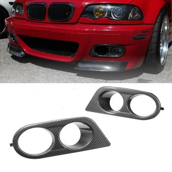 x-Pair Car Fog Light Covers Surround Air Duct For BMW E46 M3 2001-2006 Carbon Fiber Glossy Black image
