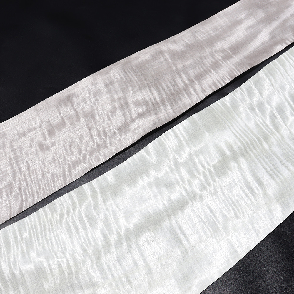 5x Natural Genuine Figured Movingui Wood Bleached Dyed Quilted Ribbon Stripe Excellent Panel EP Veneer For Furniture Whie Gray