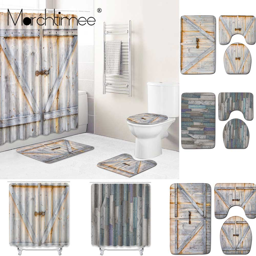 wooden door printed waterproof shower curtain marble bathroom shower curtains rug sets bathing toilet cover non slip pad mat shower curtains aliexpress