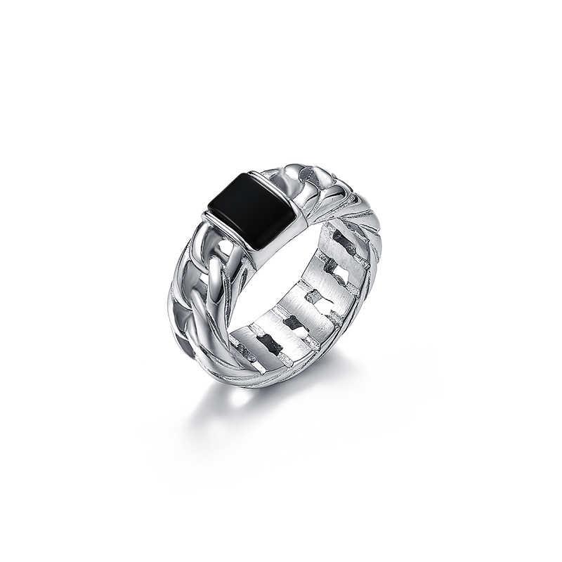 Masculino e feminino buda corrente marrom preto verde anel de pedra 316l aço inoxidável anel de prata verde pedra anel de casamento presente vr217